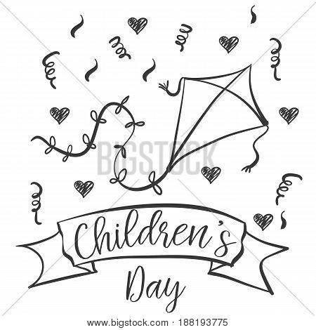 Children day hand draw design collection vector illustration