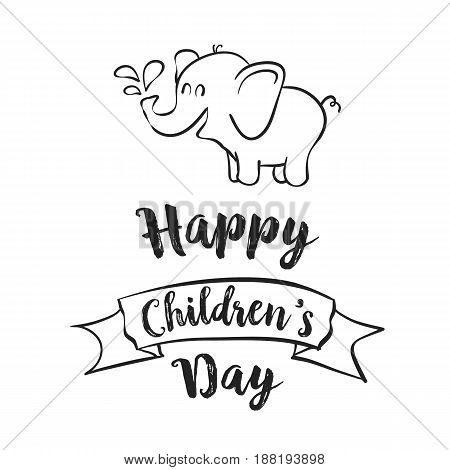 Happy children day celebration hand draw vector illustration