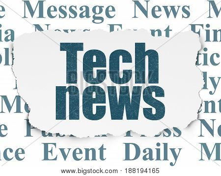 News concept: Painted blue text Tech News on Torn Paper background with  Tag Cloud