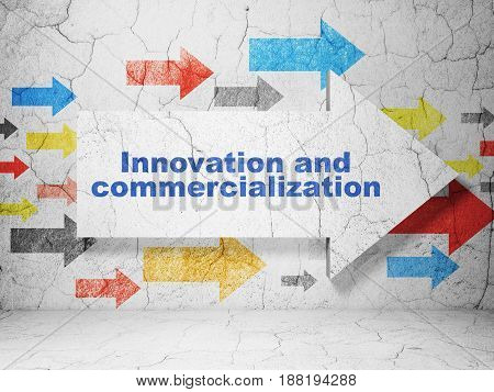Science concept:  arrow with Innovation And Commercialization on grunge textured concrete wall background, 3D rendering