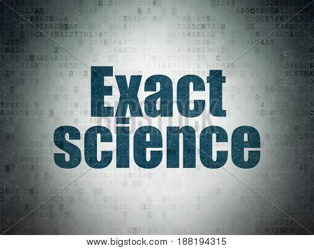 Science concept: Painted blue word Exact Science on Digital Data Paper background