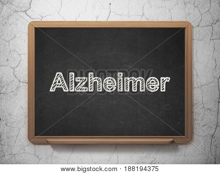 Medicine concept: text Alzheimer on Black chalkboard on grunge wall background, 3D rendering