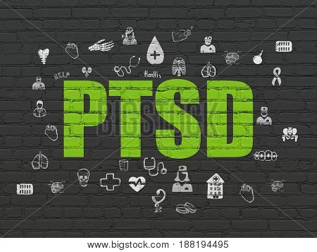 Medicine concept: Painted green text PTSD on Black Brick wall background with  Hand Drawn Medicine Icons