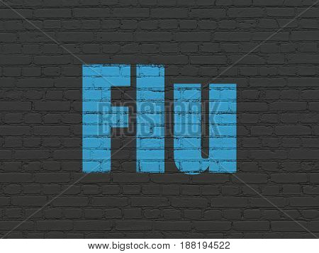 Medicine concept: Painted blue text Flu on Black Brick wall background