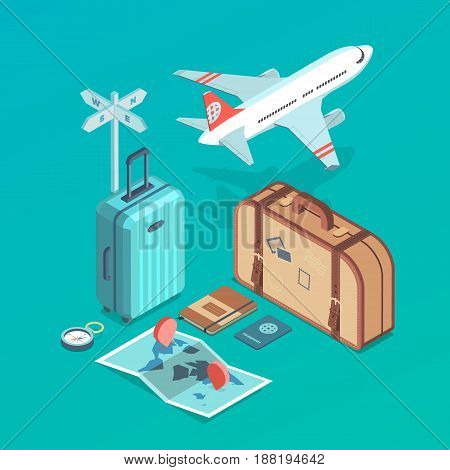 Isometric icon illustrations of traveling plane passanger luggage tourist and journey objects