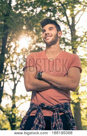 One Young Man, Smiling, Upper Body Shot, Outdoors Nature Sunny