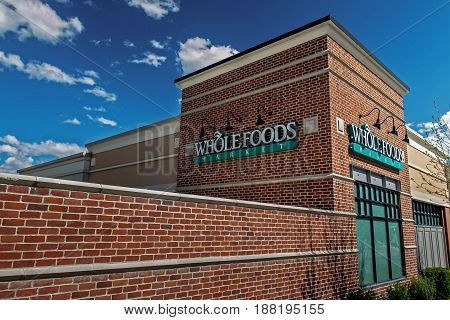Park City UT May 12 2017: Sun shines on a Whole Foods store at Kimball Junction.