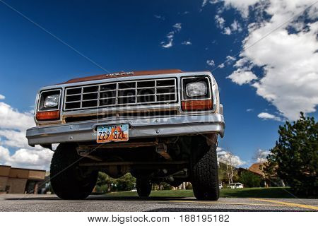 Park City UT May 12 2017: Old Dodge truck is parked in a lot upward view.