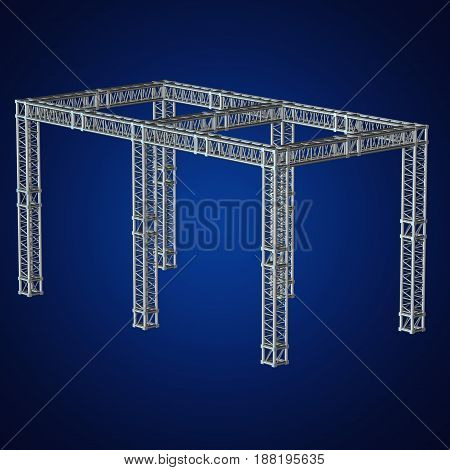 Steel truss girder rooftop construction. 3d render on blue