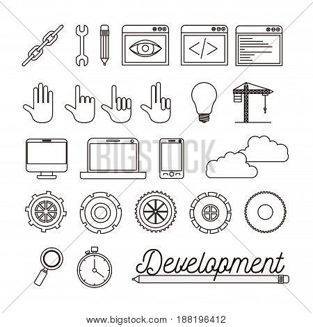 monochrome background with set of elements for development building vector illustration