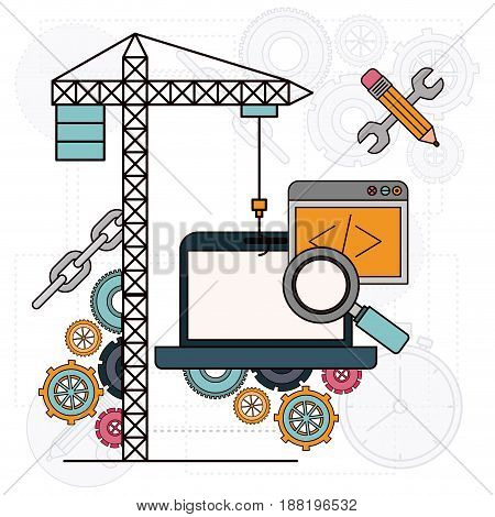background with crane and laptop computer for development of the construction vector illustration