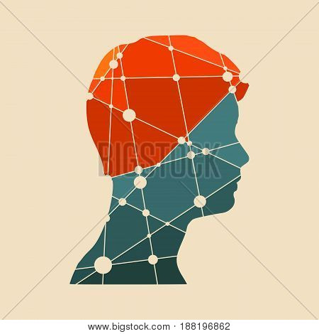 Profile of the head of a man. Mental health relative vector brochure design template. Scientific medical designs. Molecule And Communication Background. Connected lines with dots.