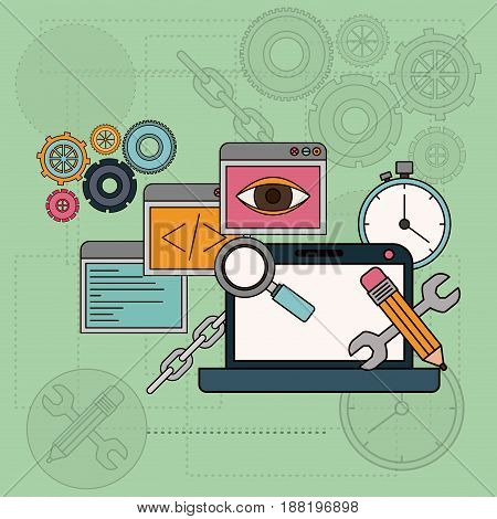 background with software tools for development of the construction in laptop computer vector illustration
