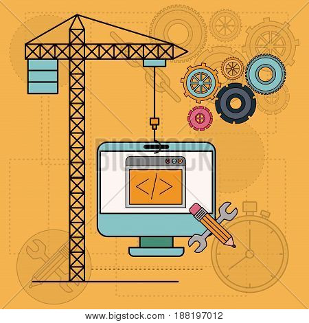 background with desktop computer apps for development of the construction vector illustration