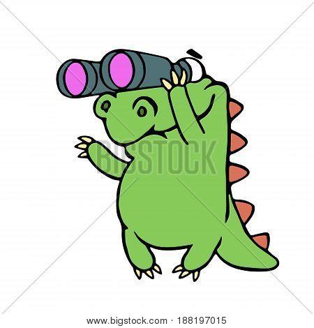 Cute dinosaur looking through binoculars. Vector illustration. Funny cartoon character.