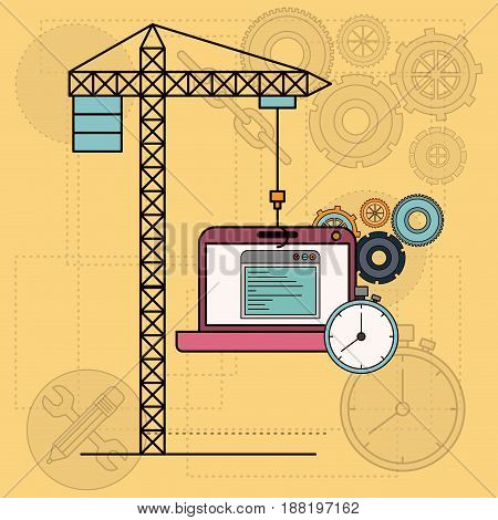 background with laptop computer apps for development of the construction vector illustration