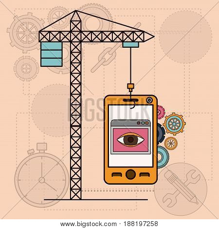 background with mobile apps for development of the construction vector illustration