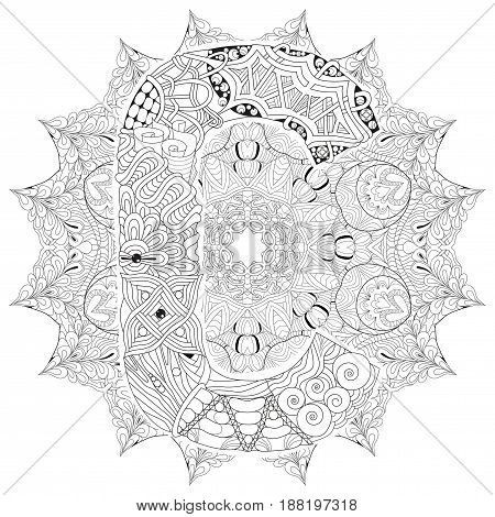Hand-painted art design. Adult anti-stress coloring page. Black and white hand drawn illustration mandala with letter C for coloring book