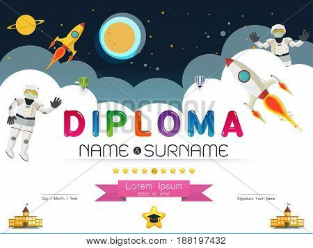 Kids diploma template. Preschool elementary school kids diploma. Kids certificate or diploma layout. Cartoon space diploma design. Decorative diploma certificate with cartoon space sign. Diploma child