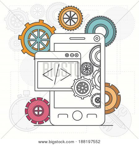 background with smartphone apps and tools for developers vector illustration