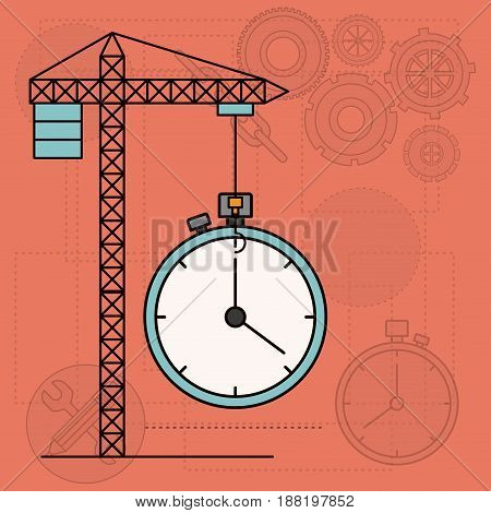 background with crane tower and clock vector illustration