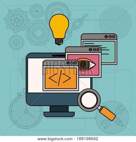 background with apps windows in development of ideas in desktop computer vector illustration