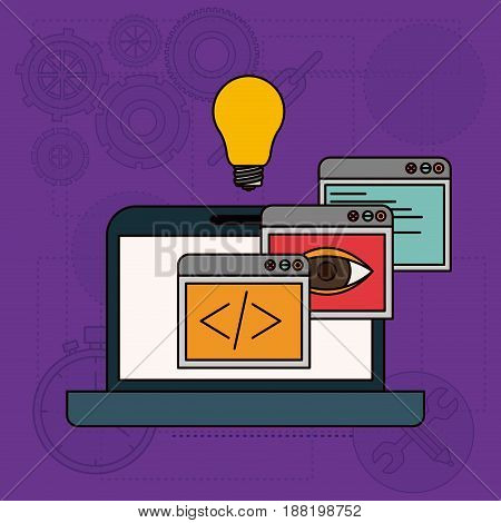 background with apps windows in development of ideas in laptop computer vector illustration