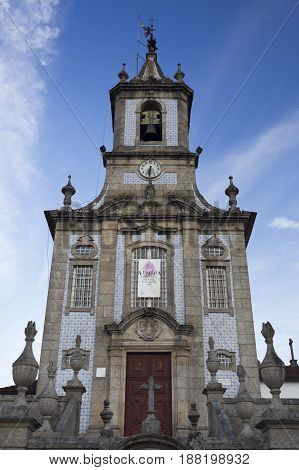 ARCOS DE VALDEVEZ, PORTUGAL - OCTOBER 8, 2016: The Parish Church of Sao Paio is located in the town of Arcos de Valdevez Portugal