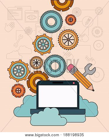 background with laptop computer and storage cloud service vector illustration