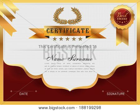 Graceful certificate template with Luxury and modern pattern Qualification certificate blank template with elegantGold with redVector illustration