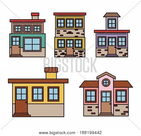 background with colorful set of houses facades vector illustration