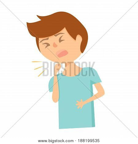 Coughing boy in blue shirt with eyes closed and with hand in front of mouth.