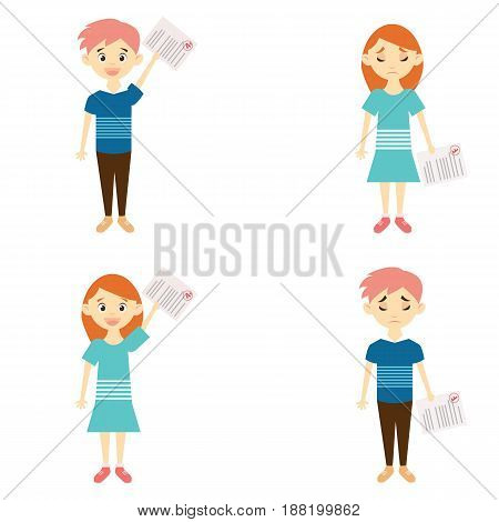Boy and girl with bad and good marks showing sad and happy expression.