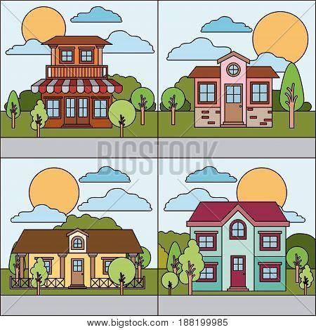colorful natural landscape with graphic set of rural village vector illustration