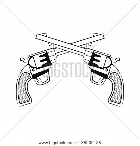 gun pistols crossed, bullets ornate detailed tattoo design element. vector illustration