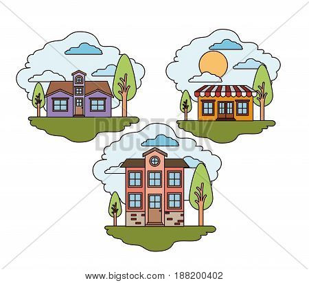 white background with set of rural houses scenes in sunny day vector illustration