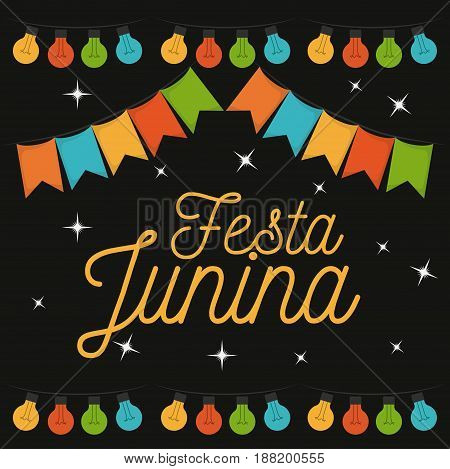 colorful poster of nightly background of festa junina vector illustration