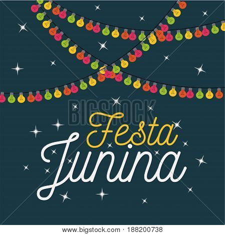 colorful poster festa junina with starry background and decorative lights vector illustration