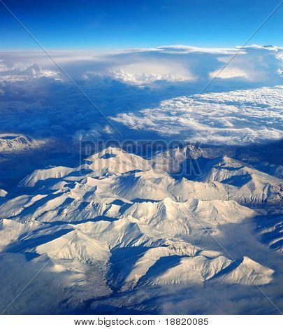 Aerial view of mountains over Alaska