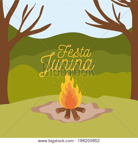 colorful poster festa junina with background outdoors and wood fire vector illustration