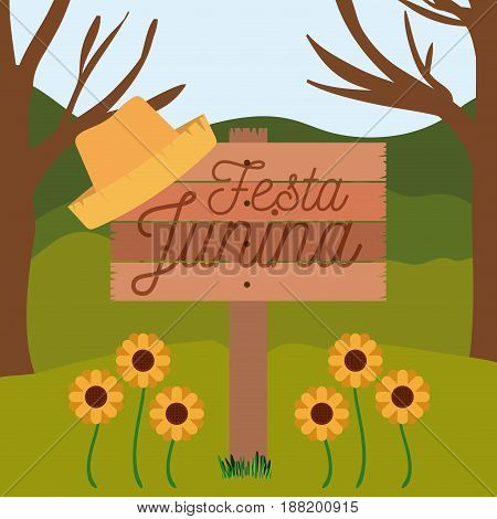 colorful poster festa junina in wooden fence with background outdoors vector illustration