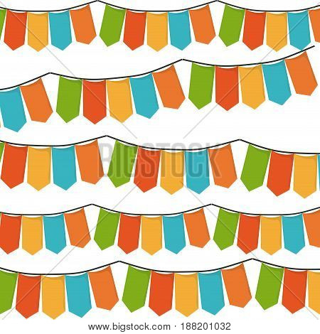 white background with set of colorful festoons in shape of rectangles vector illustration