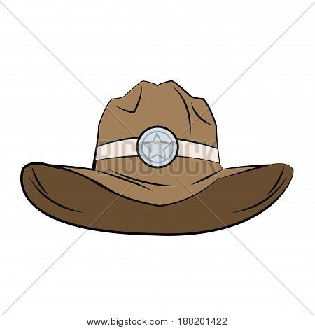 old western sheriff hat star clothing icon vector illustration