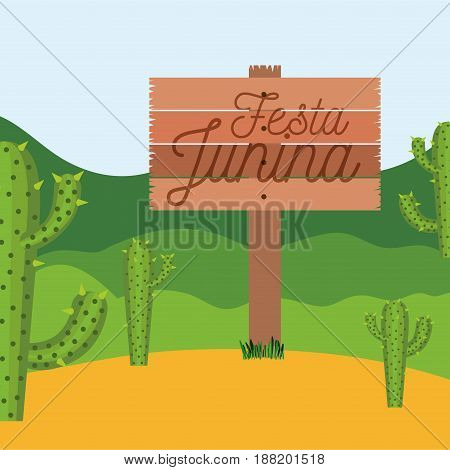 colorful poster festa junina in wooden fence with background outdoors with cactus field vector illustration