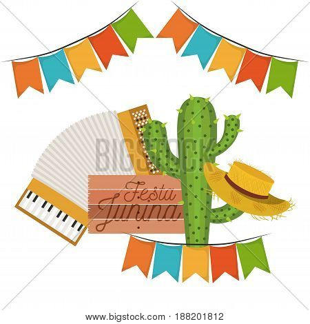 white background with cactus and hat and accordion in festa junina vector illustration