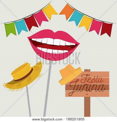 white background with festoon and hat and mouth symbol of joy in festa junina vector illustration