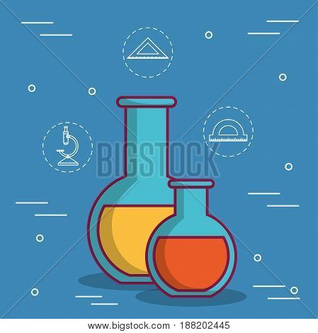 chemical flasks icon over blue background. colorful design. vector illustration