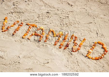 Inscription Vitamin D At Beach, Concept Of Summer Time And Healthy Lifestyle
