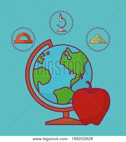 geography tool and school related icons over turquoise background. colorful design. vector illustration