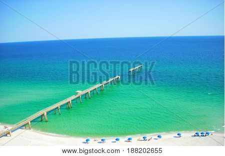 Broken fishing pier on the Gulf Of Mexico